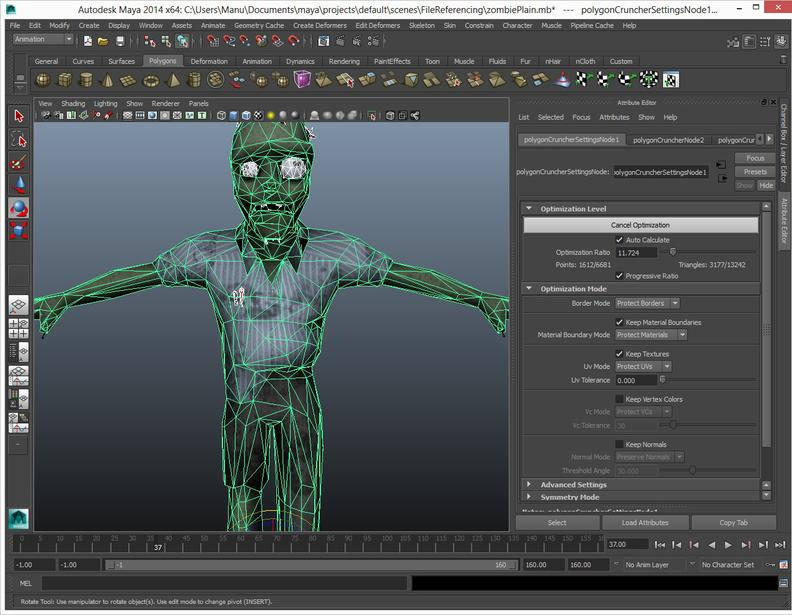 Polygon Cruncher for Autodesk Maya takes place in the Maya graph