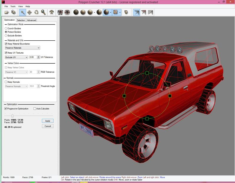 Polygon Cruncher reduces even lowres scenes